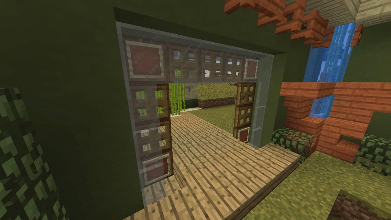 Glass Panes, Trapdoors & item frames make nice decorative entrances. Minecraft building ideas exterior and interior