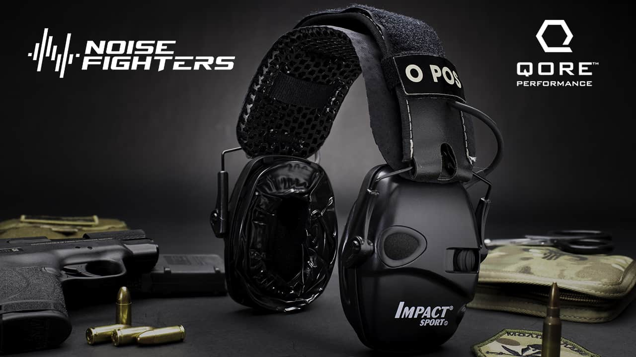 Noise Fighters Sightlines gel cups and Qore Performance IceVents installed on Howard Leight Impact Sport ear muffs