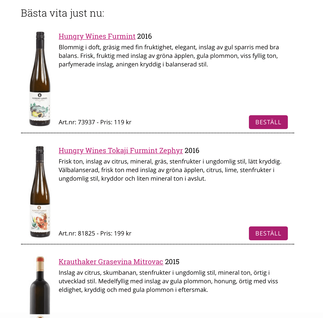 "Hungry Wines Furmint ""Bäst just nu"" – ""Östeuropa levererar"" på Vinguiden.com"