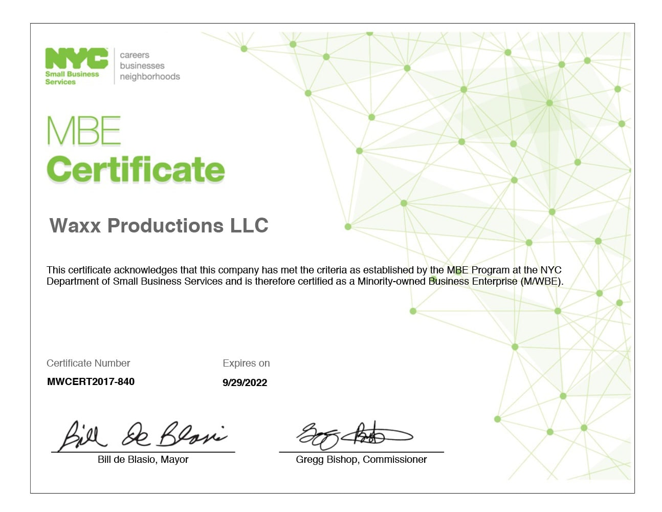 Waxx Productions LLC MBE Certificate