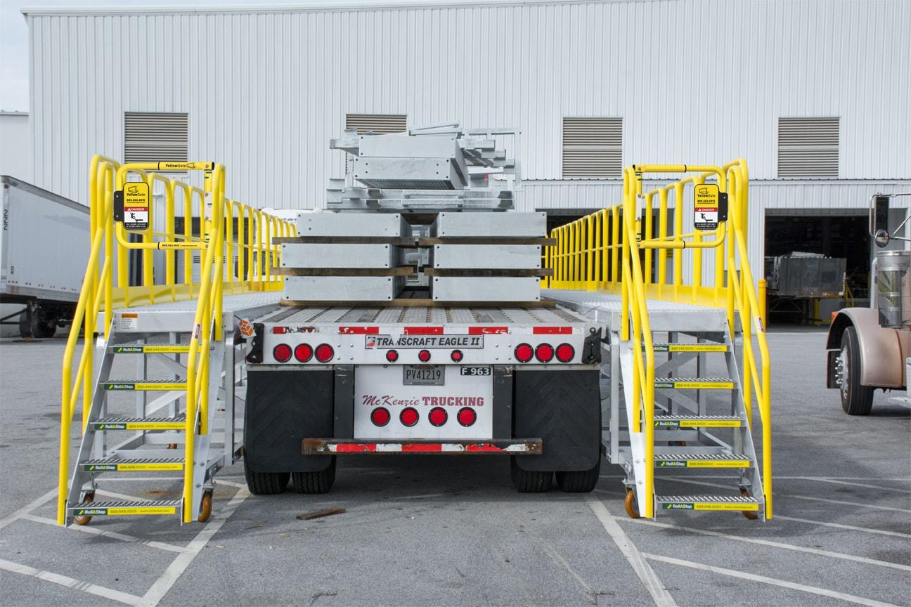 Loading flatbed trailer