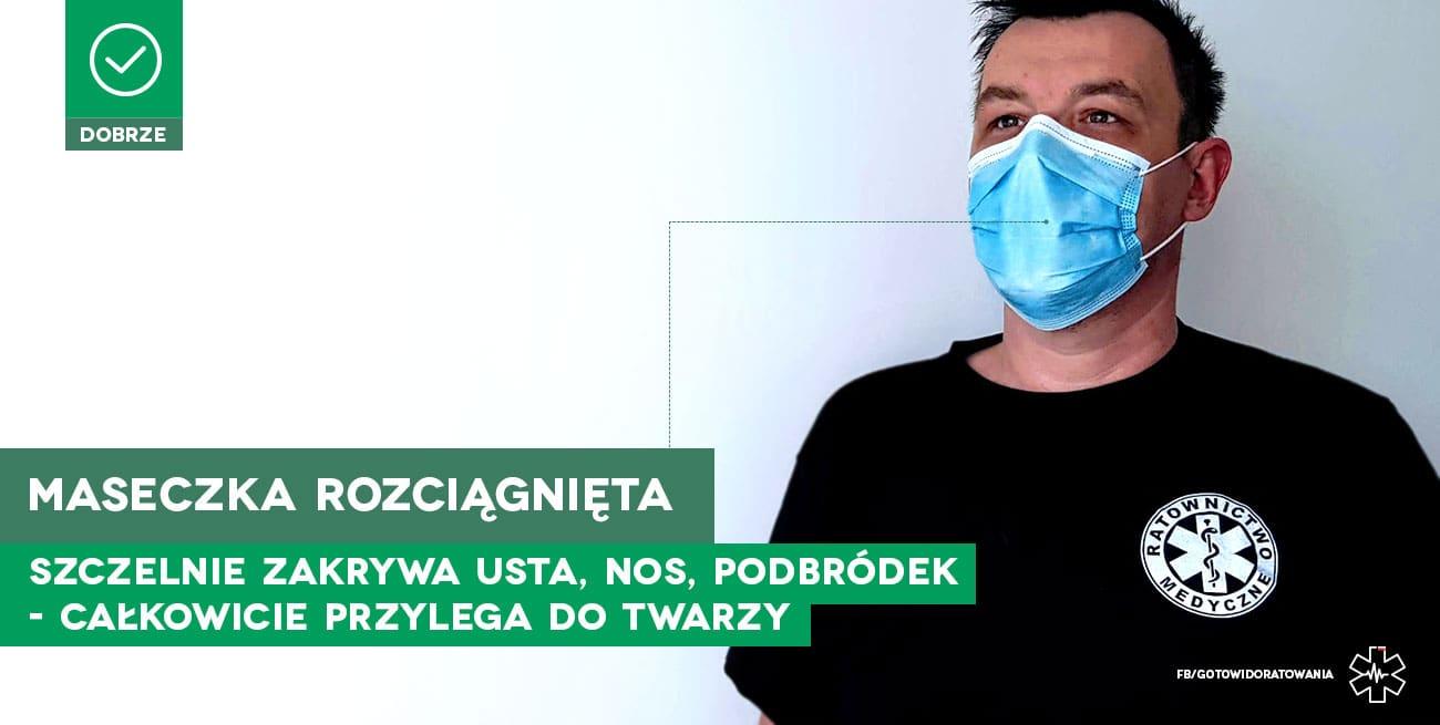 Jak w prawidłowy sposób nosić jednorazową maseczkę ochronną pierwsza pomoc szkolenie kurs pierwszej pomocy koronawirus covid sars maseczka chirurgiczna maseczka jednorazowa