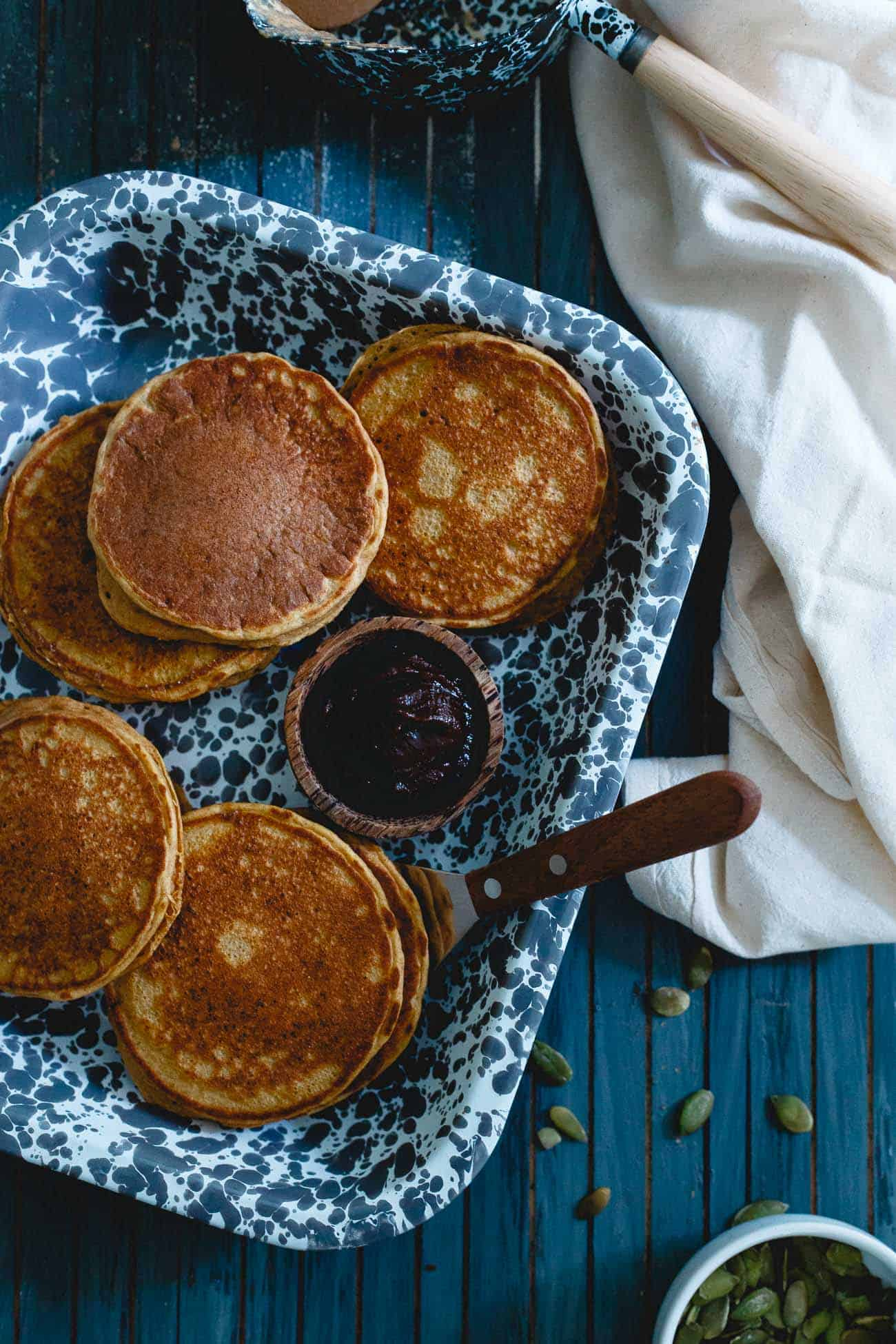 These pumpkin protein pancakes are a simple, fall recipe for pumpkin pancakes packed with protein to help keep you full longer. A healthy start to your day!