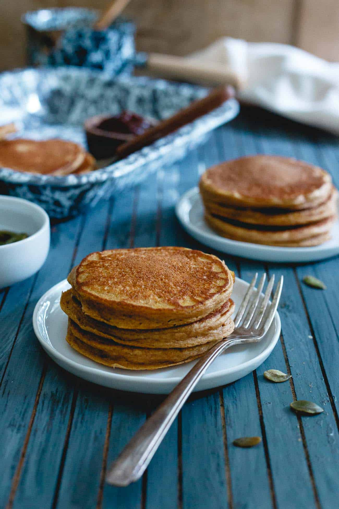 Loaded with added protein from collagen peptides, egg-whites and healthy whole wheat flour, these pumpkin protein pancakes will keep you full all morning long!