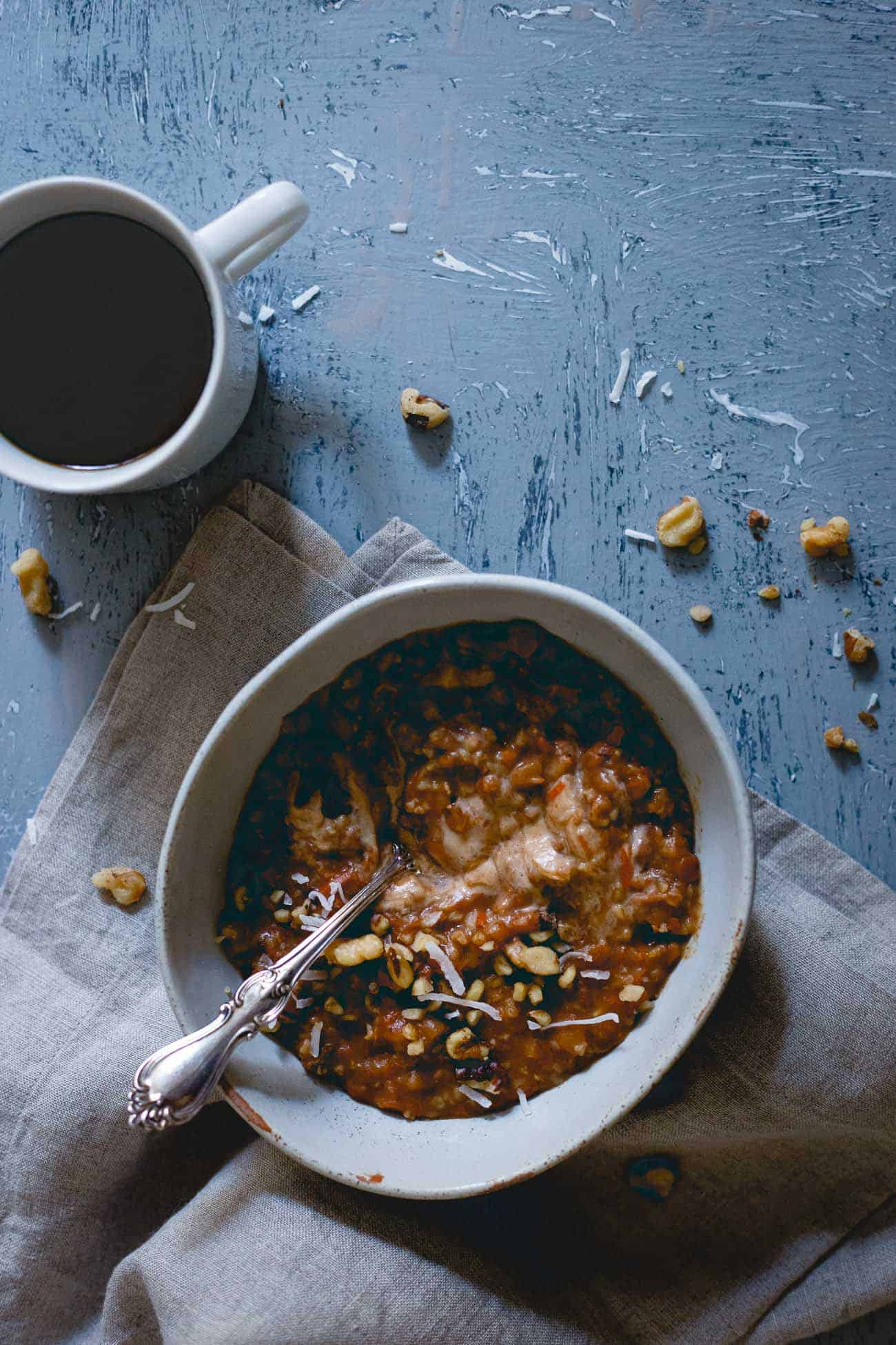 The slow cooker does all the work in this apple butter carrot cake oatmeal perfect for a crisp cool fall morning.