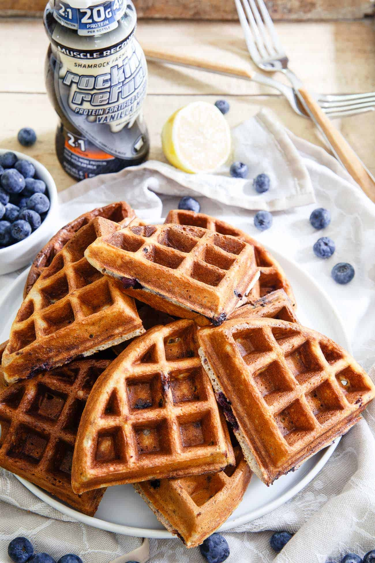 Waffle bites packed with protein, lemon flavor and blueberries can either be enjoyed for breakfast or eaten as a snack, they're delicious either way.