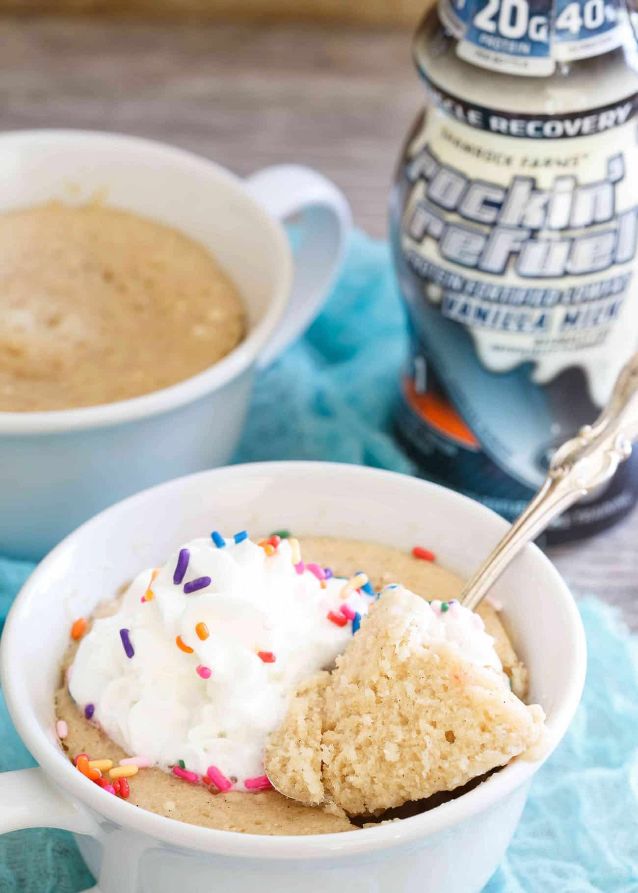 Make this protein packed vanilla mug cake when you're craving dessert but don't want to go completely off-diet!
