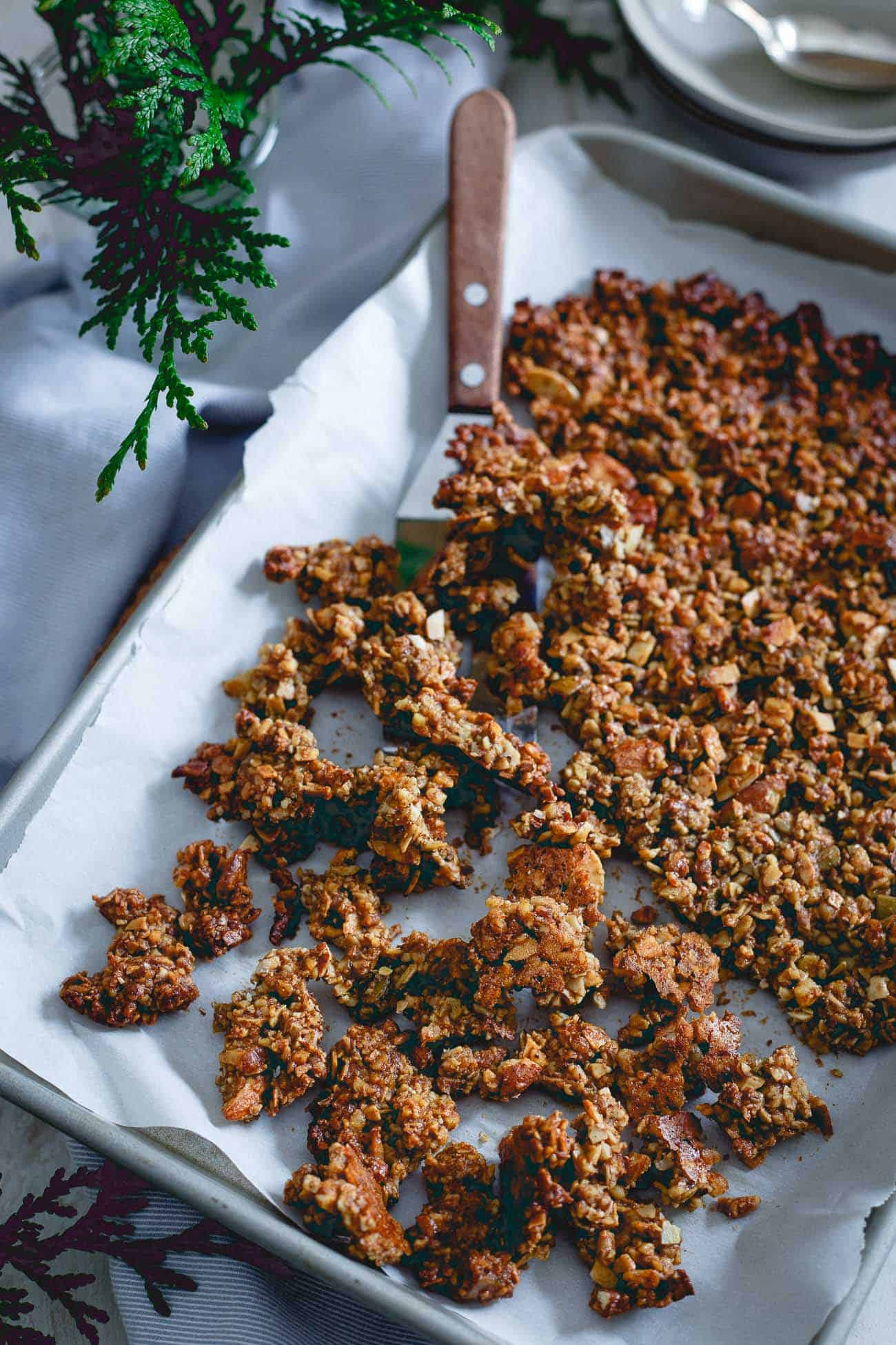 Perfectly crunchy, this paleo gingerbread granola is made of just nuts, seeds, natural sweetener and spices.