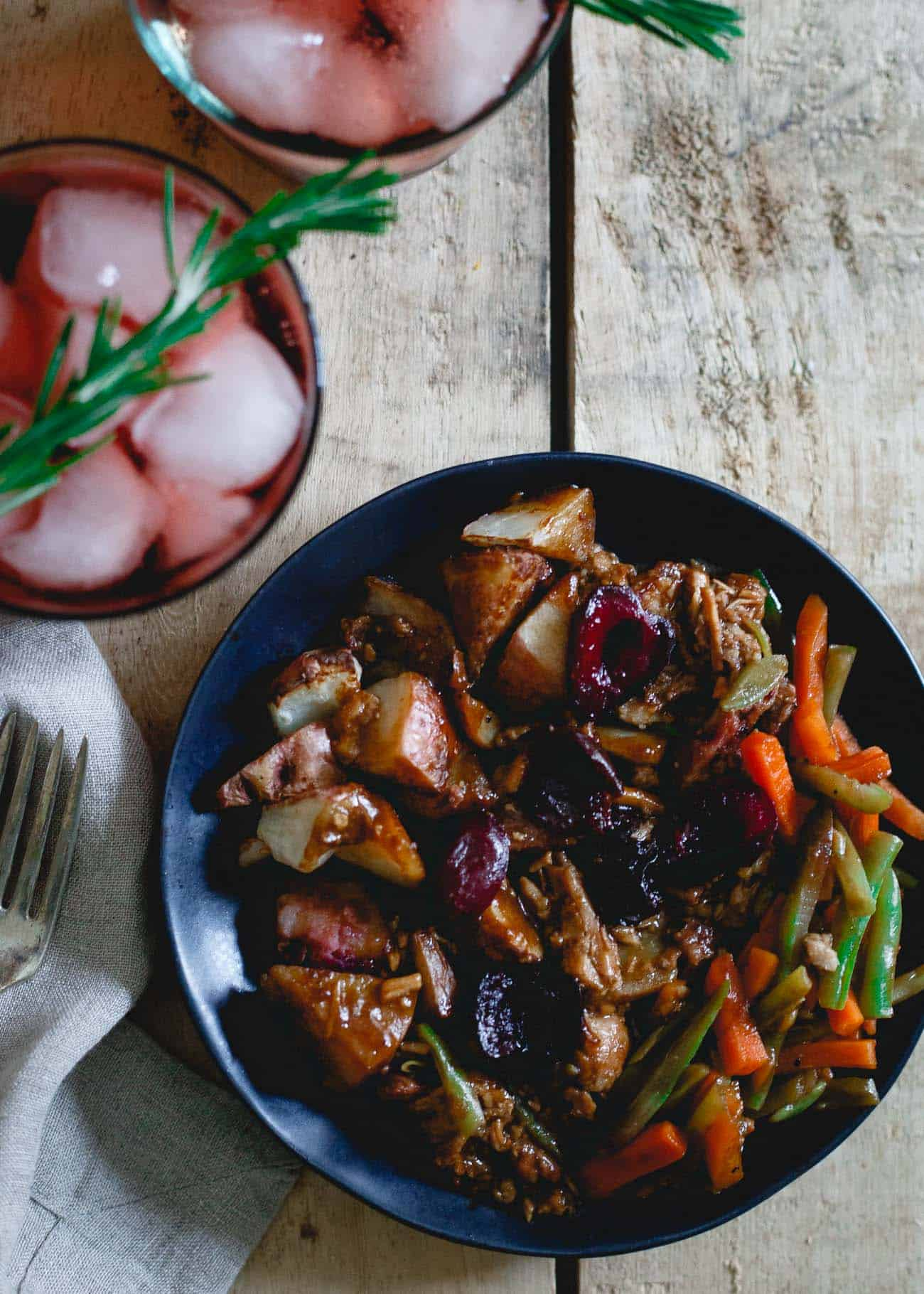This tart cherry red wine spritzer is the perfect accompaniment to this cherry port pork dinner.