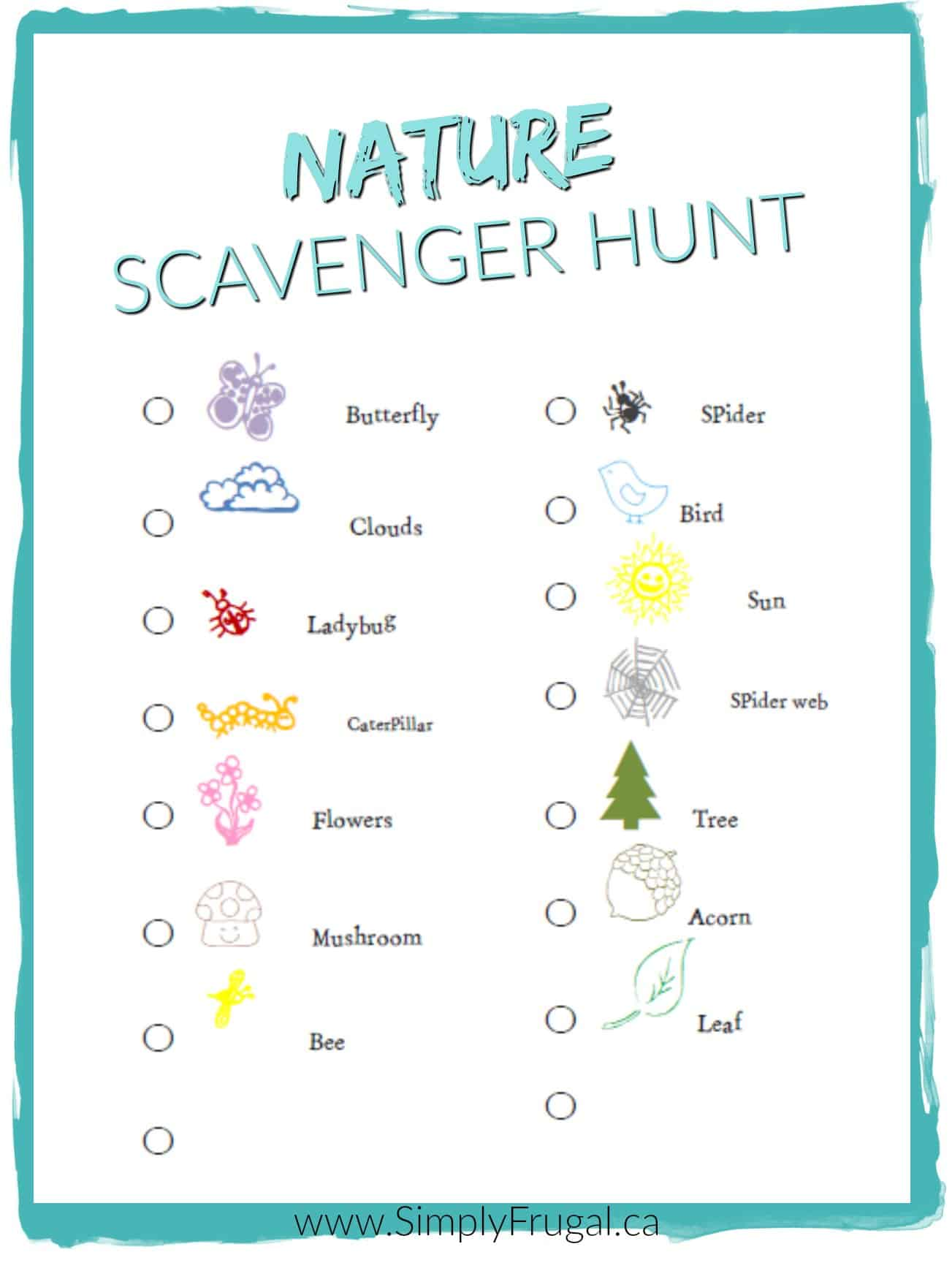 It is a graphic of Playful Nature Scavenger Hunt Printable