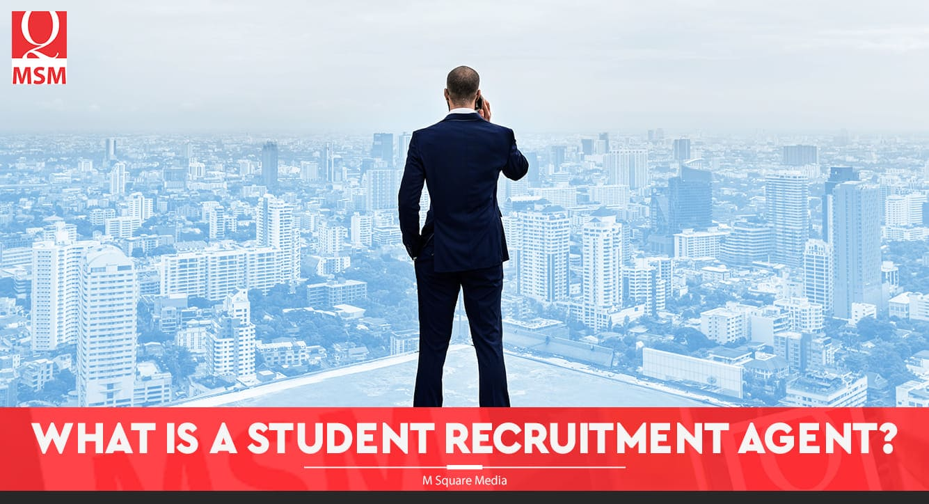 recruitment agent banner with a man standing on top