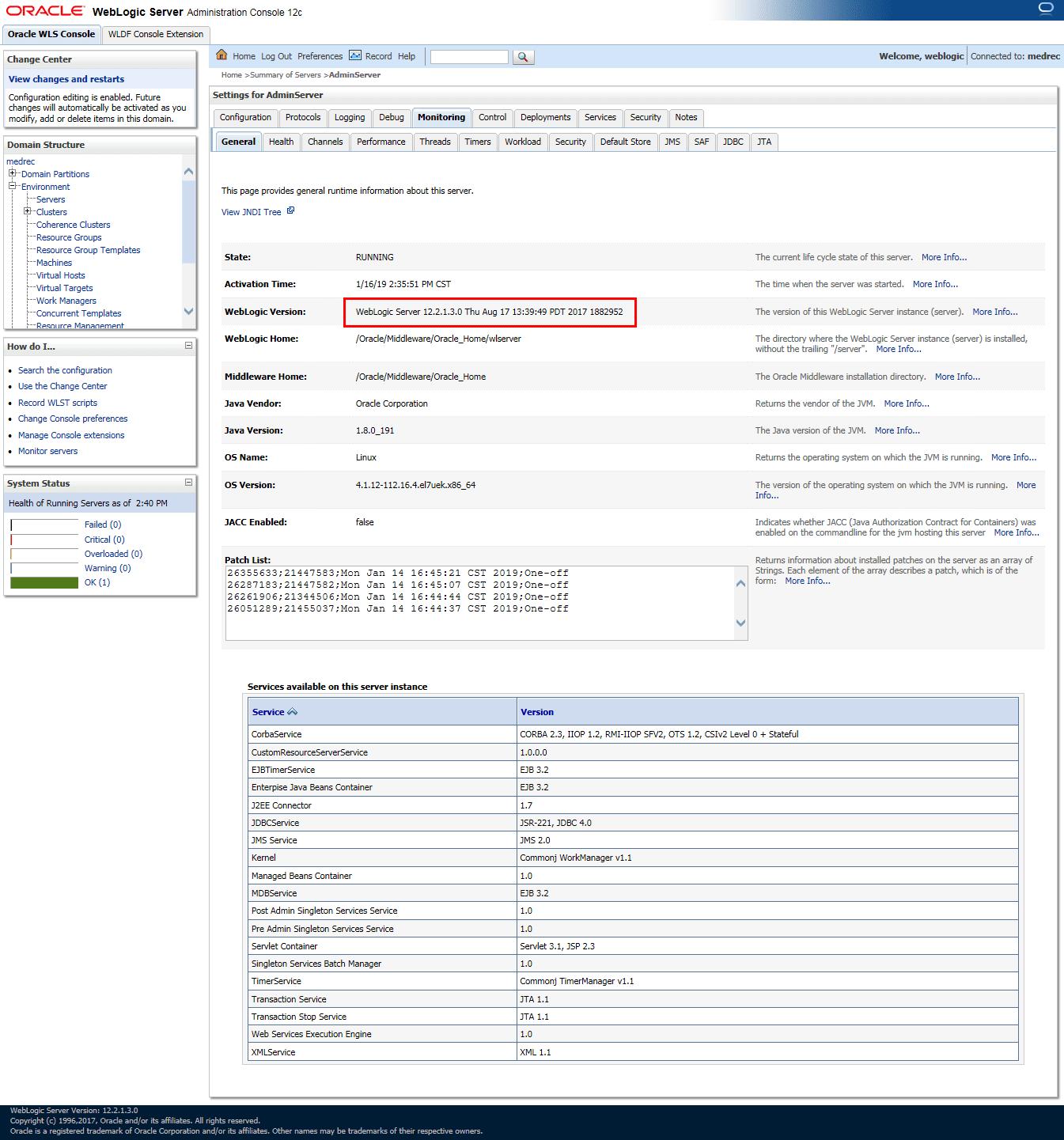 WebLogic Server Administration Console - Server Monitoring - General Tab