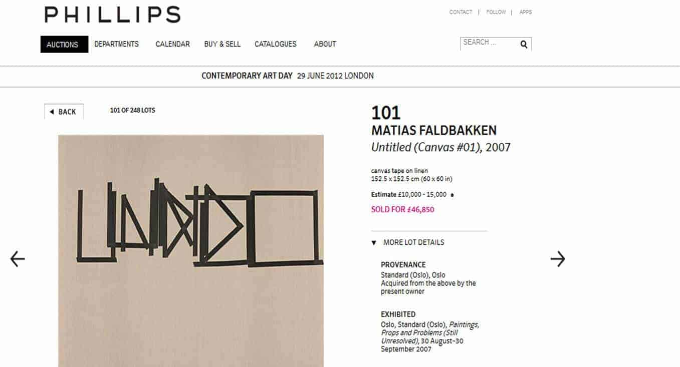 Fig. skjermdump fra nettsiden til auksjonshuset Phillips - Ervere og selge kunst – kunsthandel , kunstøkonomi, kunstfond og finans, markedsanalyser