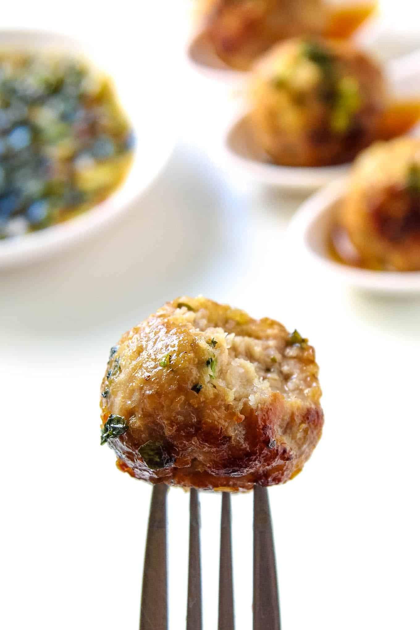 Thai Pork Meatball on Fork