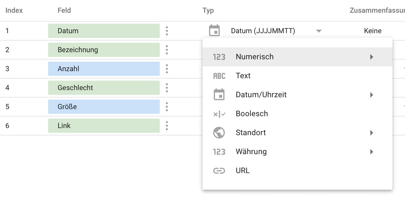 Google Data Studio Typ auswahl