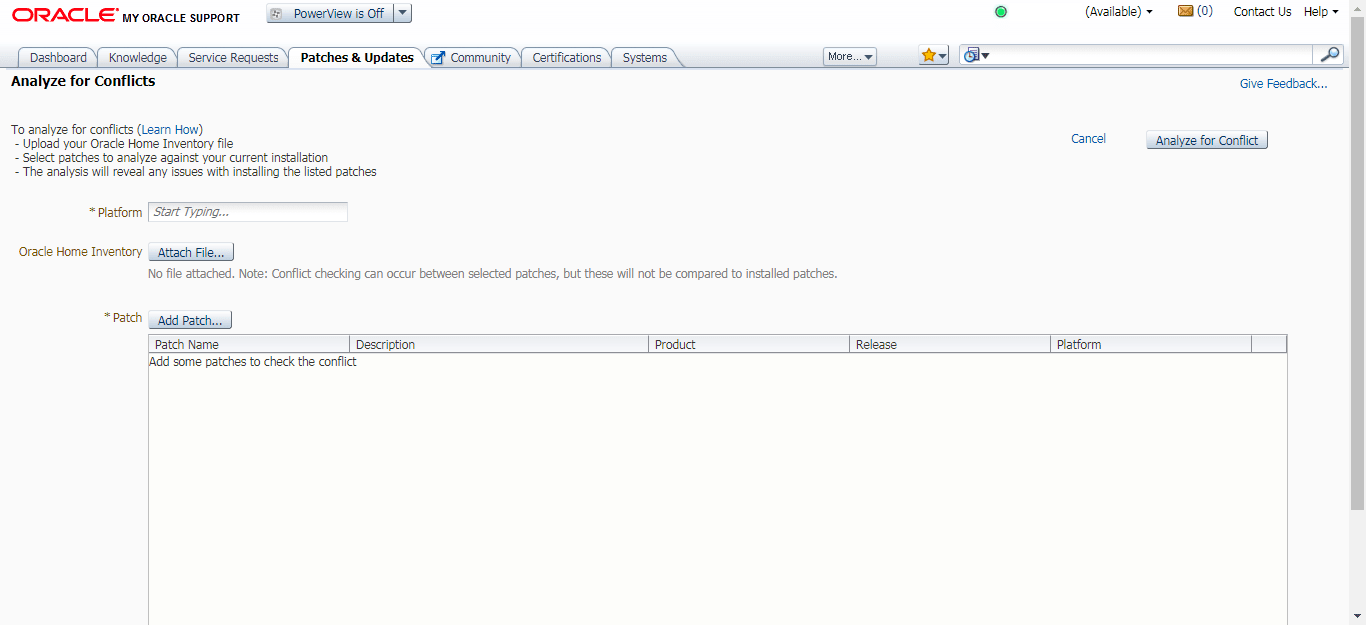 My Oracle Support Conflict Checker tool