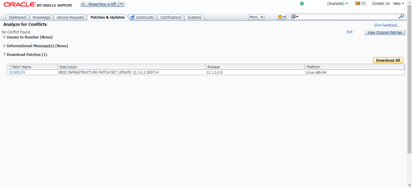 My Oracle Support Conflict Checker tool - Analysis Results