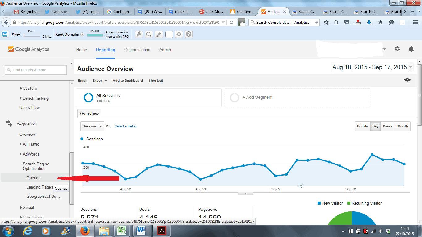 Google Analytics Search Engine Optimization Queries Report