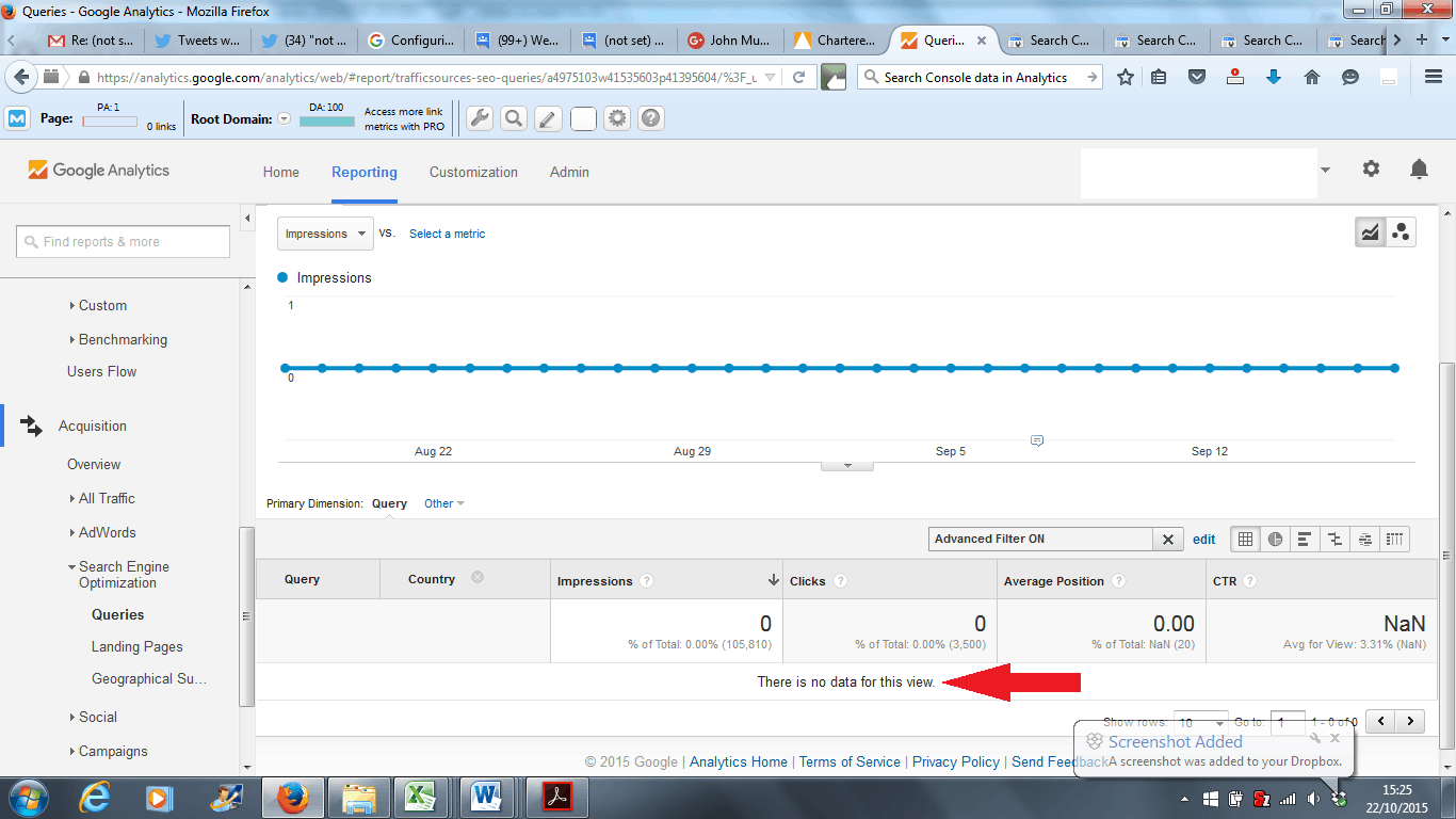 Google Analytics Search Engine Optimization Queries Report - Advanced Filter Not Working