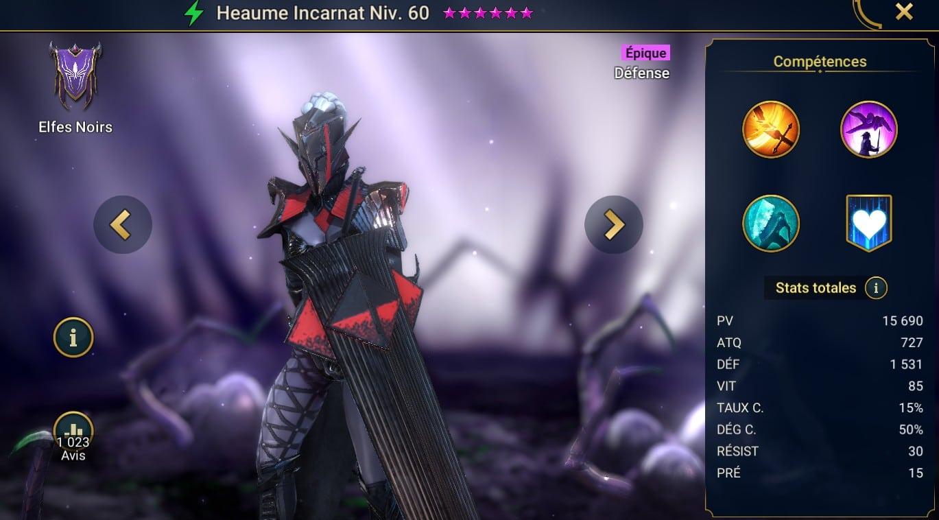 guide maitrises et artefact rune sur raid shadow legend pour Heaume incarnat (rimson Helm)