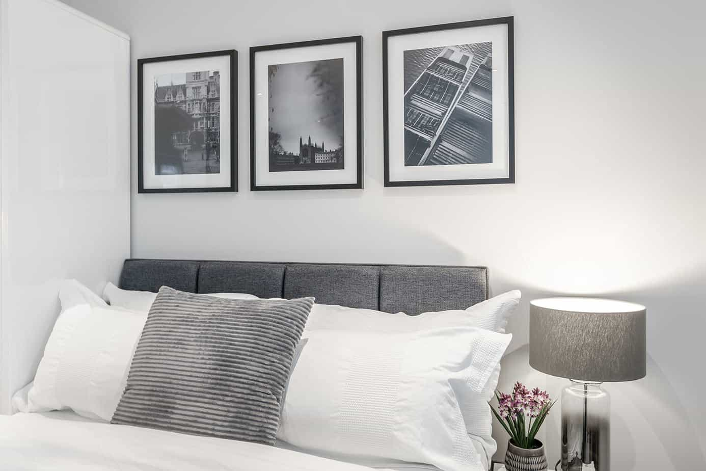 Tailored Stays Victoria Road Serviced Apartment beds come with Egyptian cotton bedding and duck down duvets.