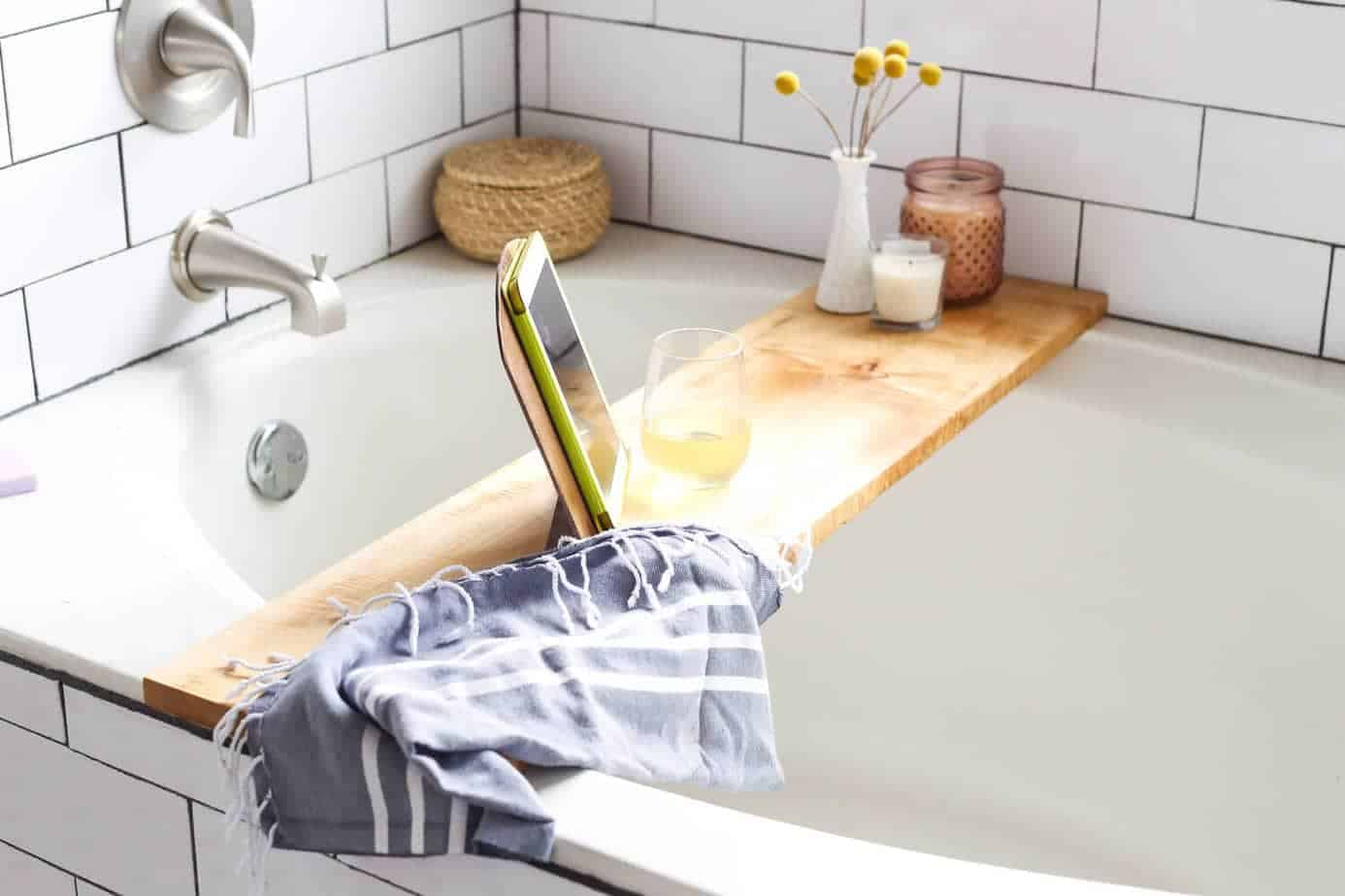 DIY bathtub tray resting on bathtub
