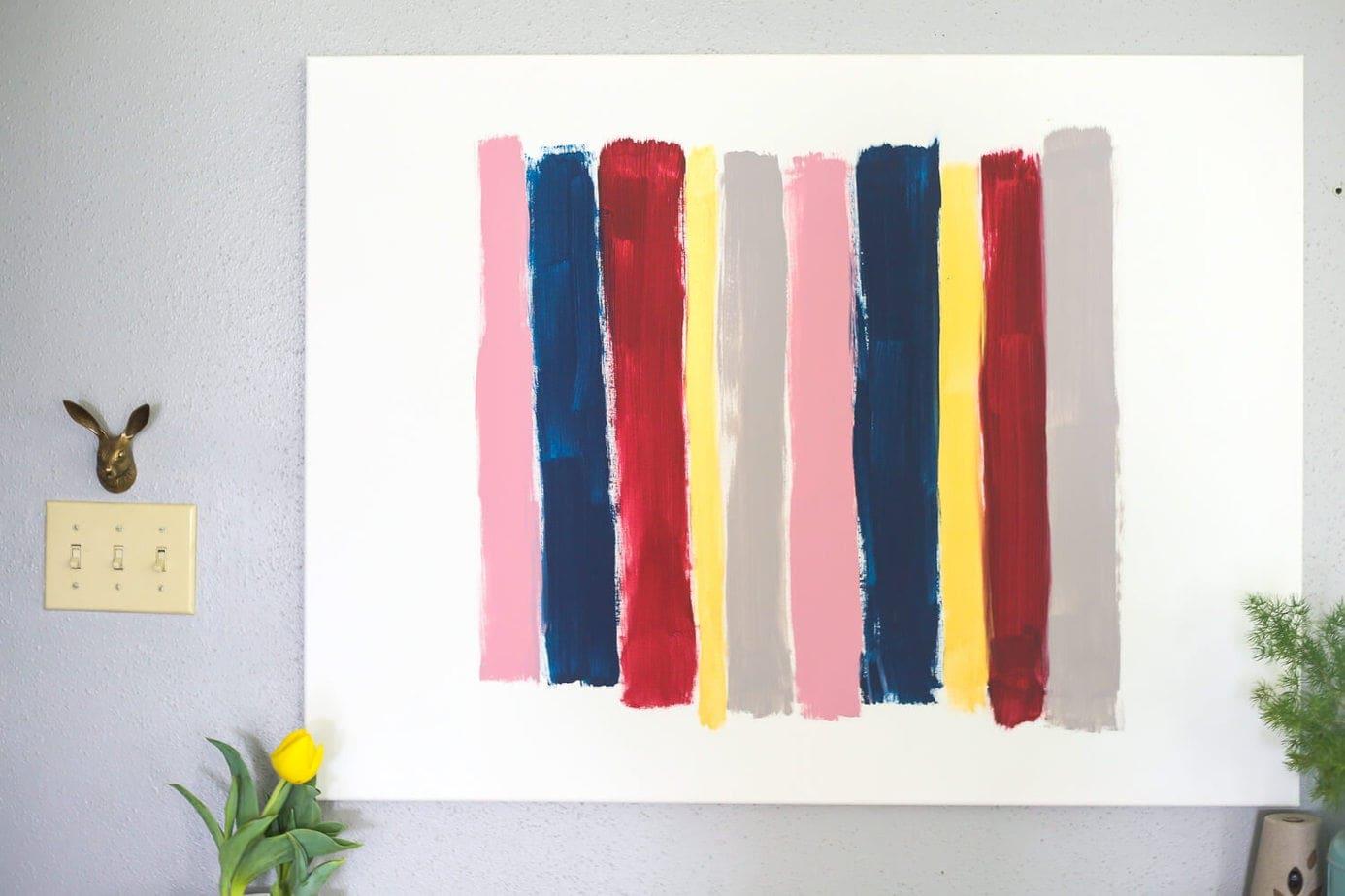 Close up of DIY canvas brush stroke art
