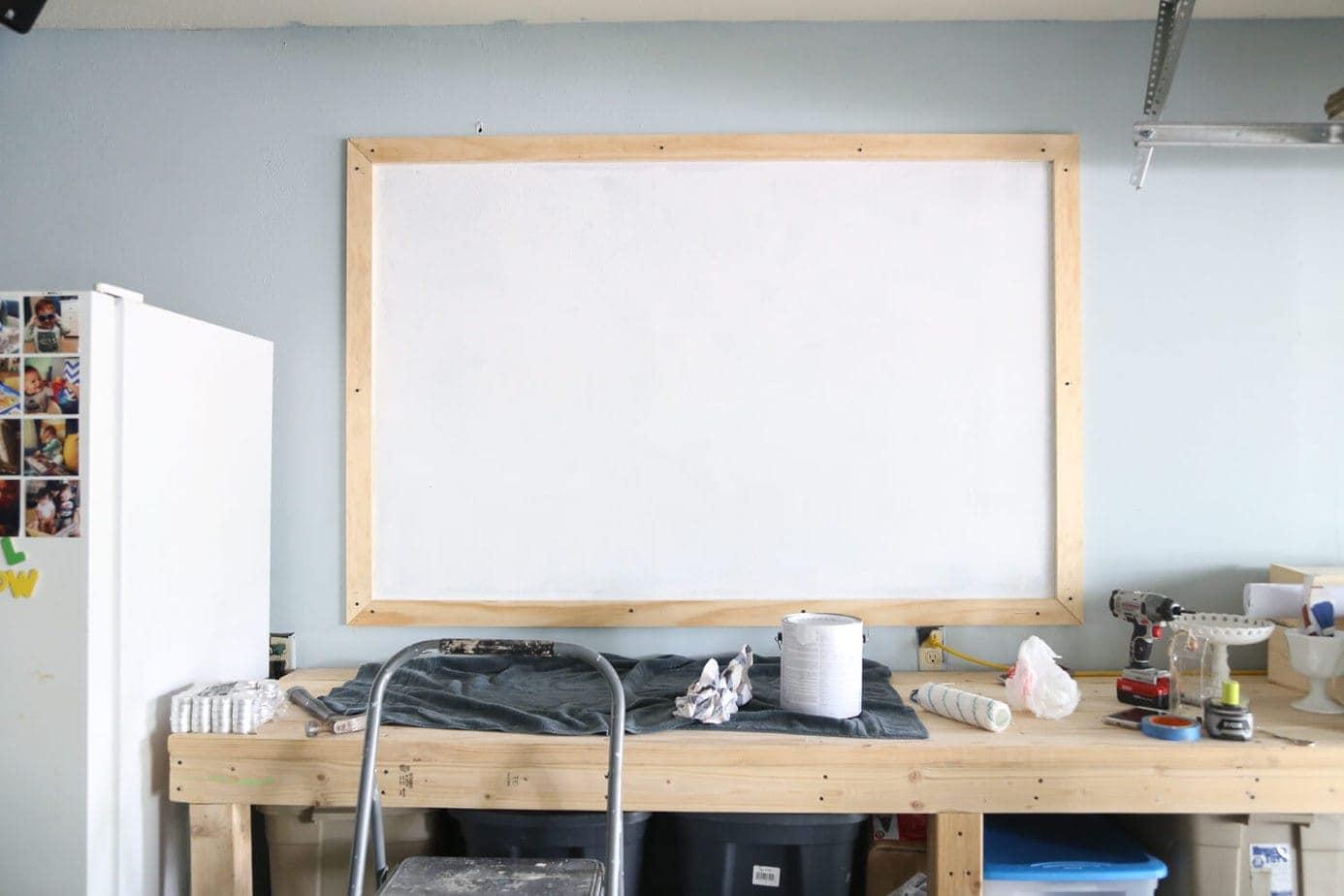 DIY chalkboard framed and primed