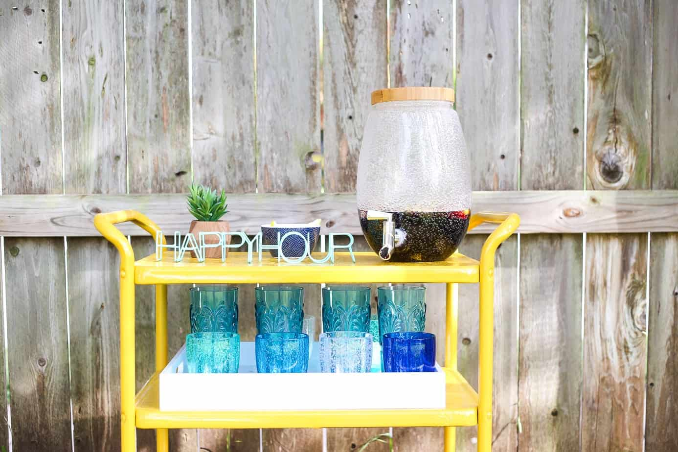 Backyard bar cart makeover