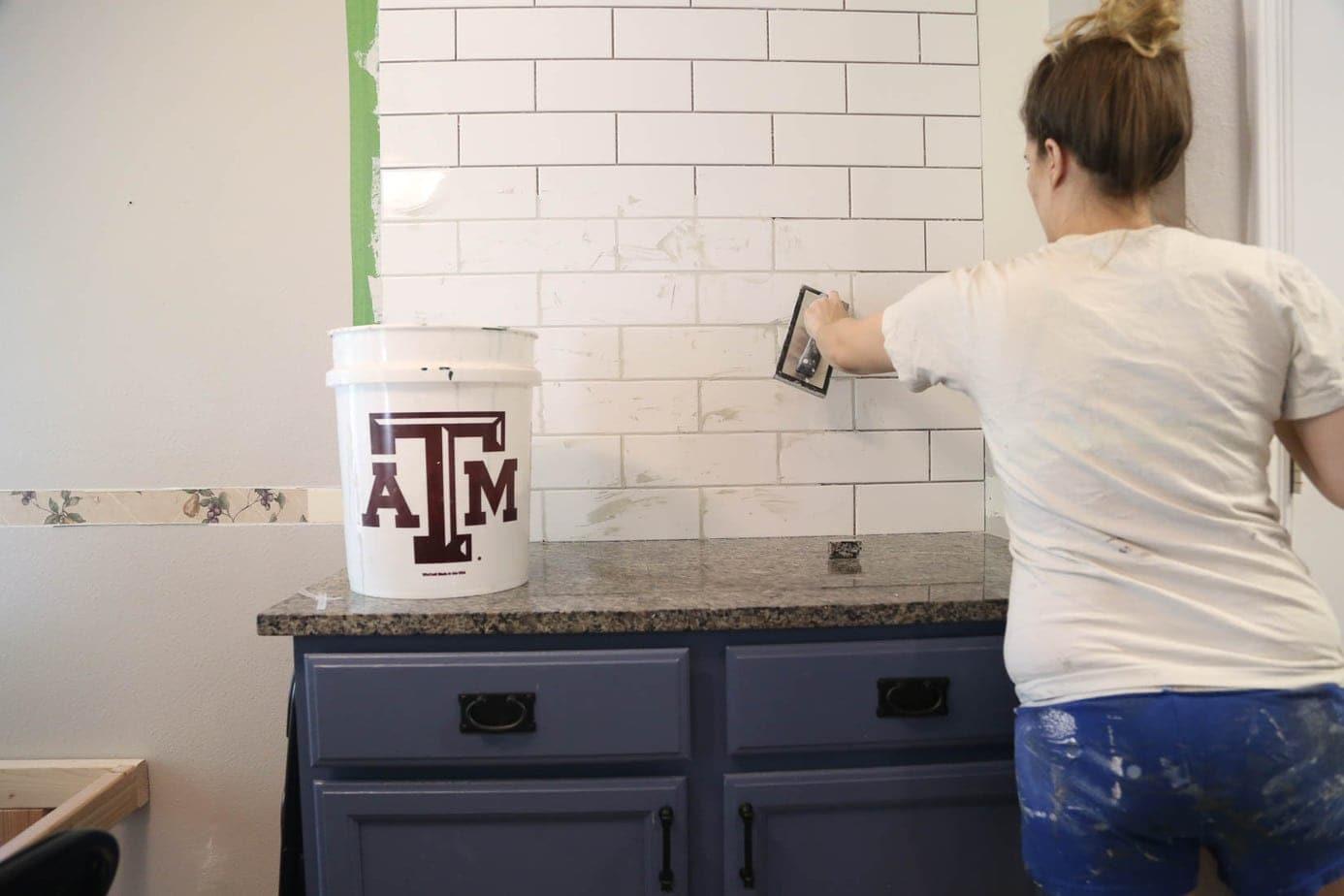 Grouting kitchen backsplash