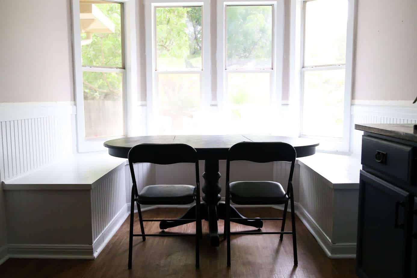 diy bay window bench aka the banquette is finished. Black Bedroom Furniture Sets. Home Design Ideas