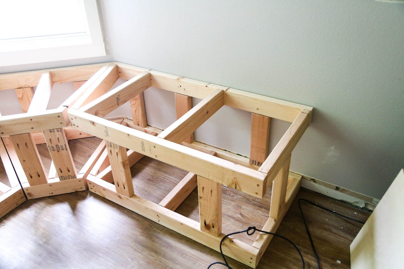 Base frame for DIY bay window bench