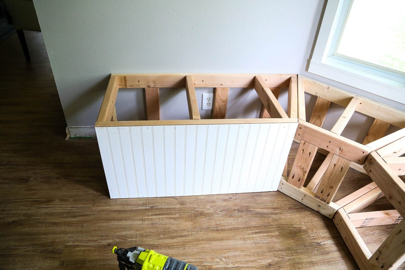 Installing beadboard for DIY bay window bench