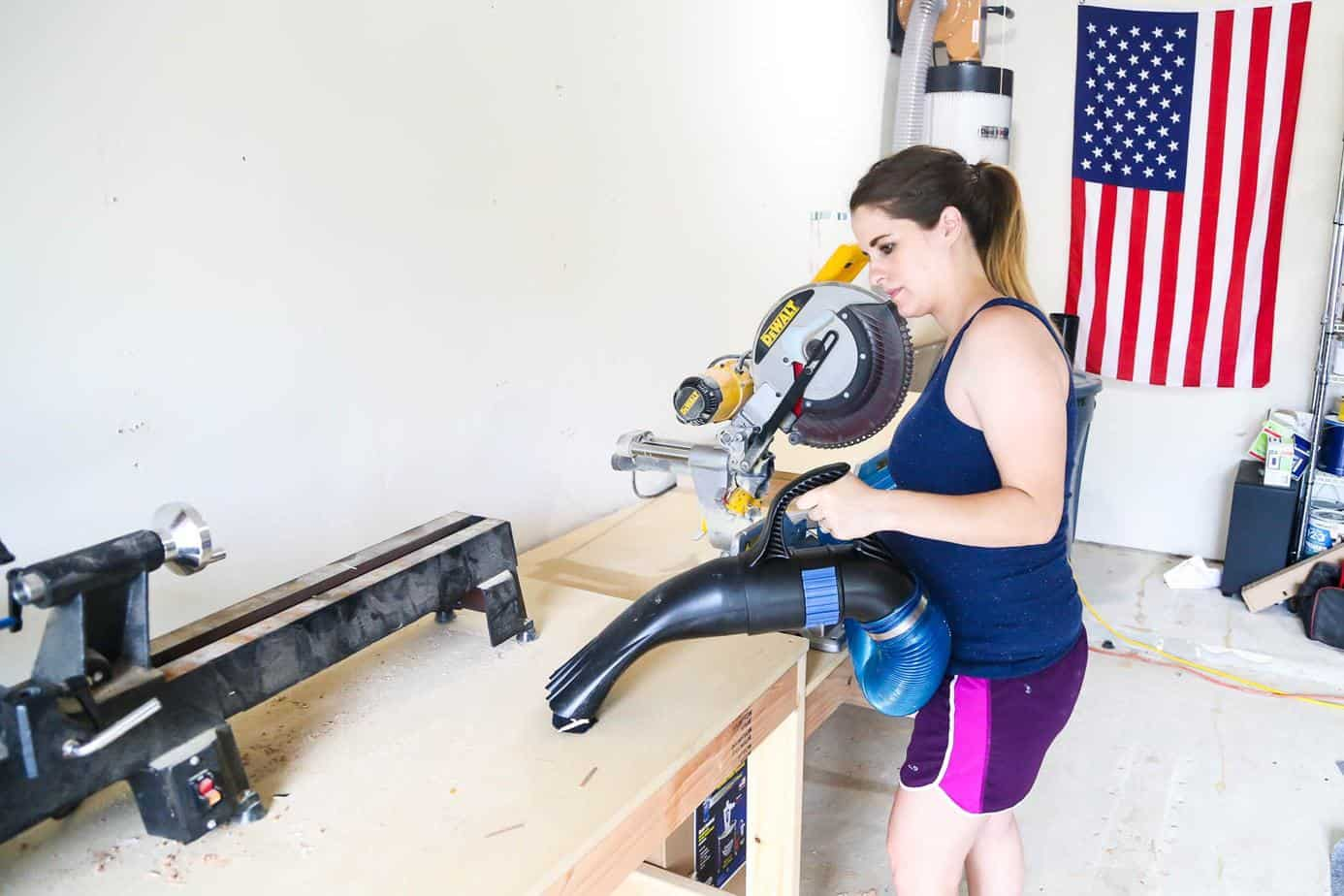 Clean workbench with Rockler dust collection system