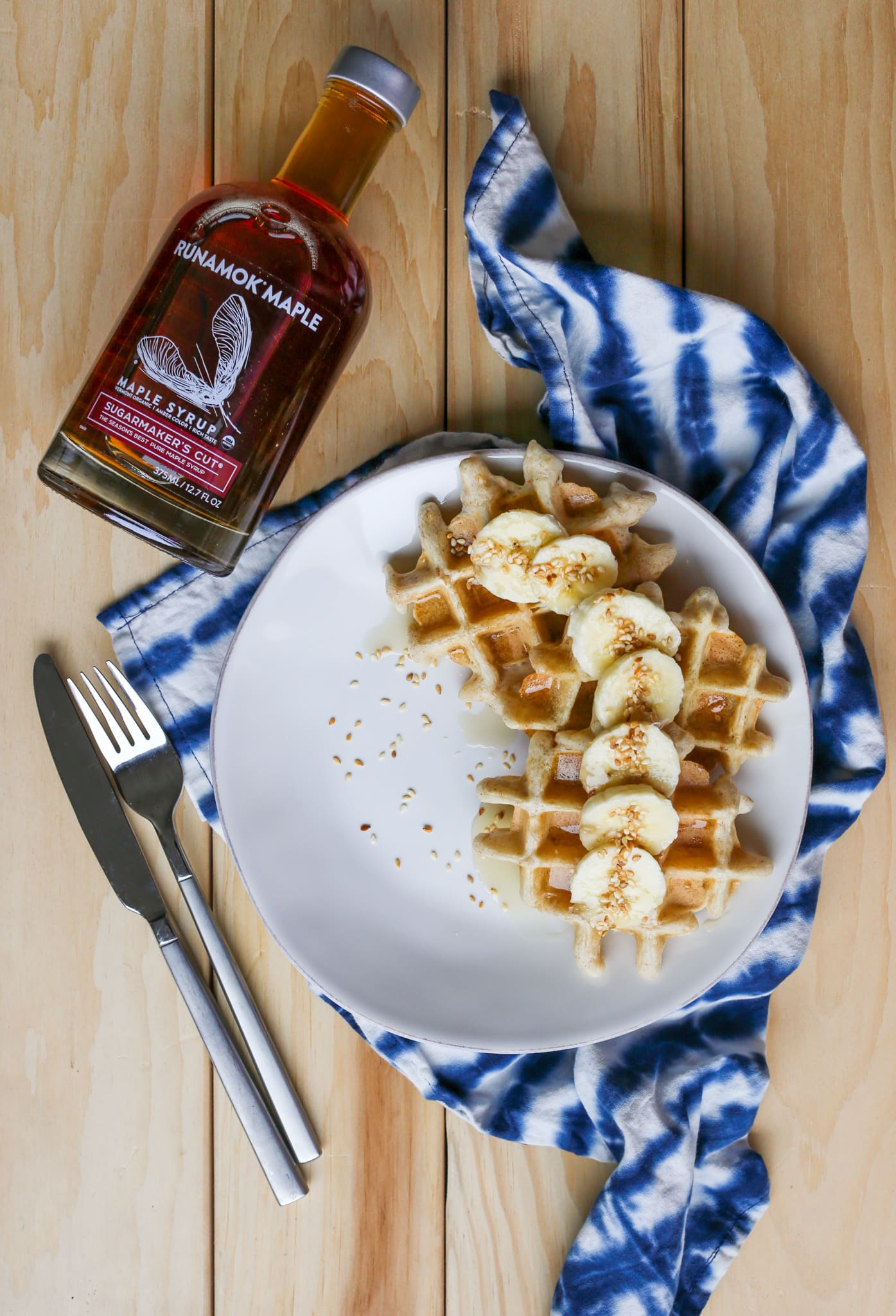 Sesame Tahini Waffles with Runamok Maple Syrup