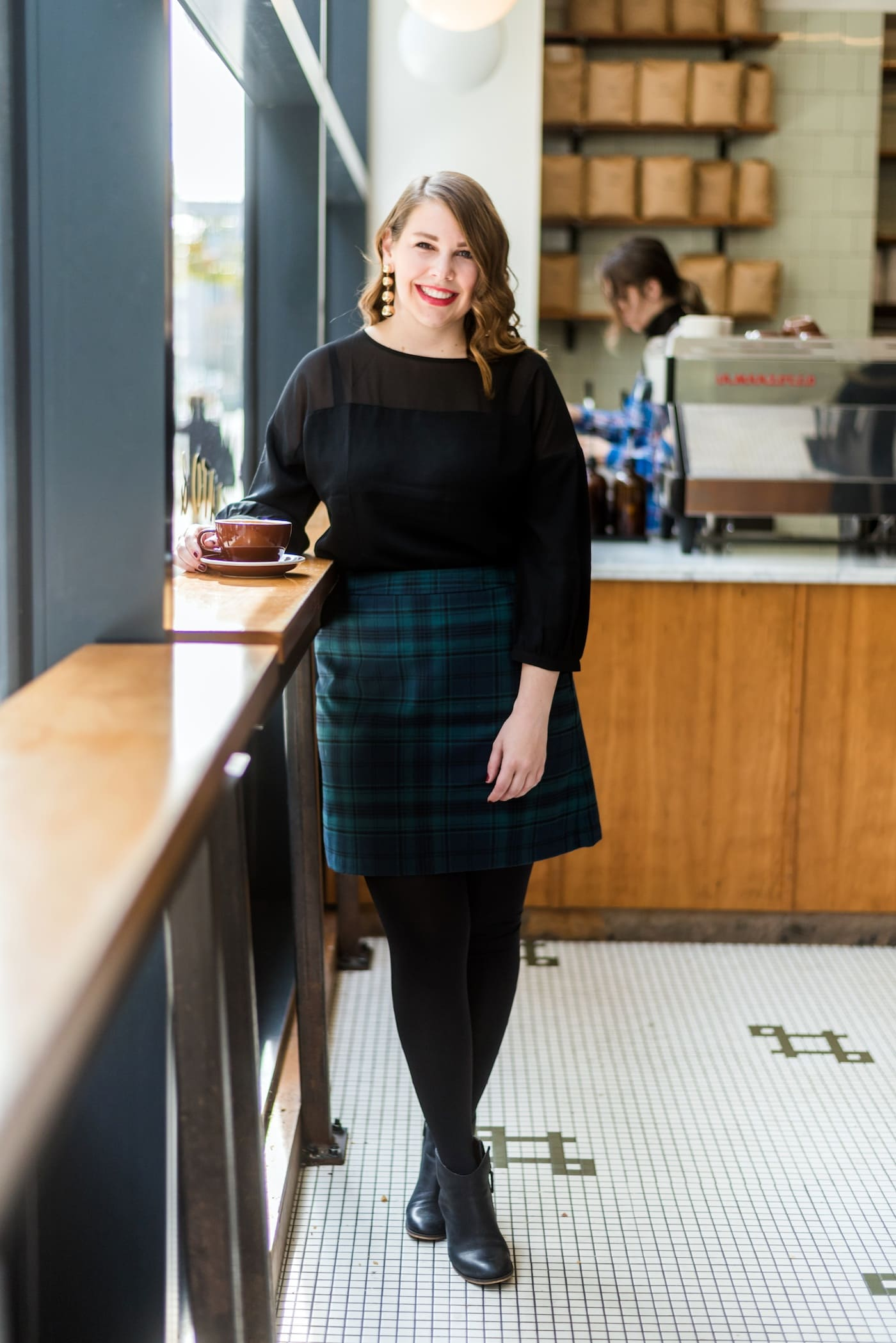 loft plaid holiday skirt for work