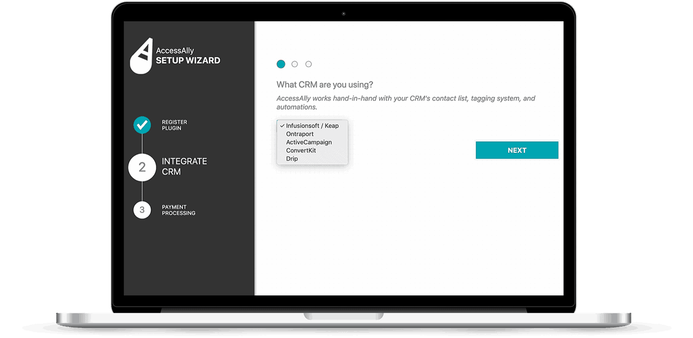 Laptop with a screenshot of the AccessAlly onboarding wizard with email marketing integration