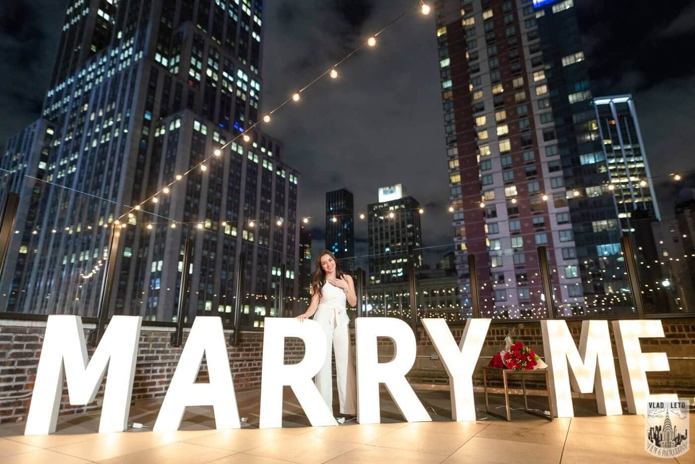 Photo 7 Gigantic Marry Me Letters Rooftop Proposal | VladLeto