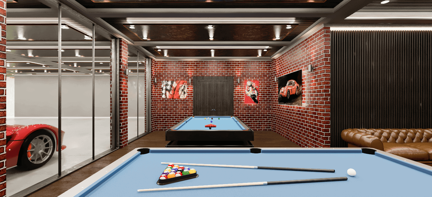 Two pool tables next to a garage in a house