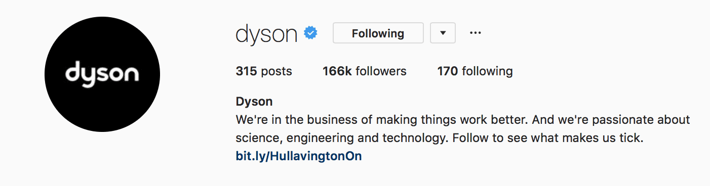 dyson instagram profile picture