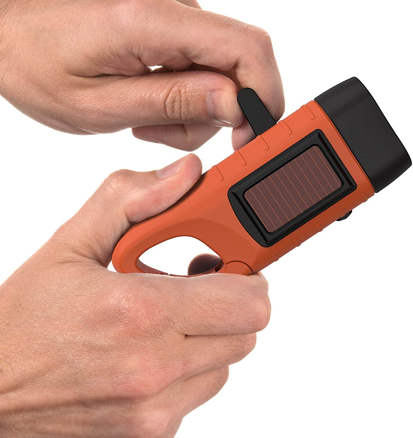 swiss safe Rechargeable Flashlight with Solar Power & Hand Crank 1