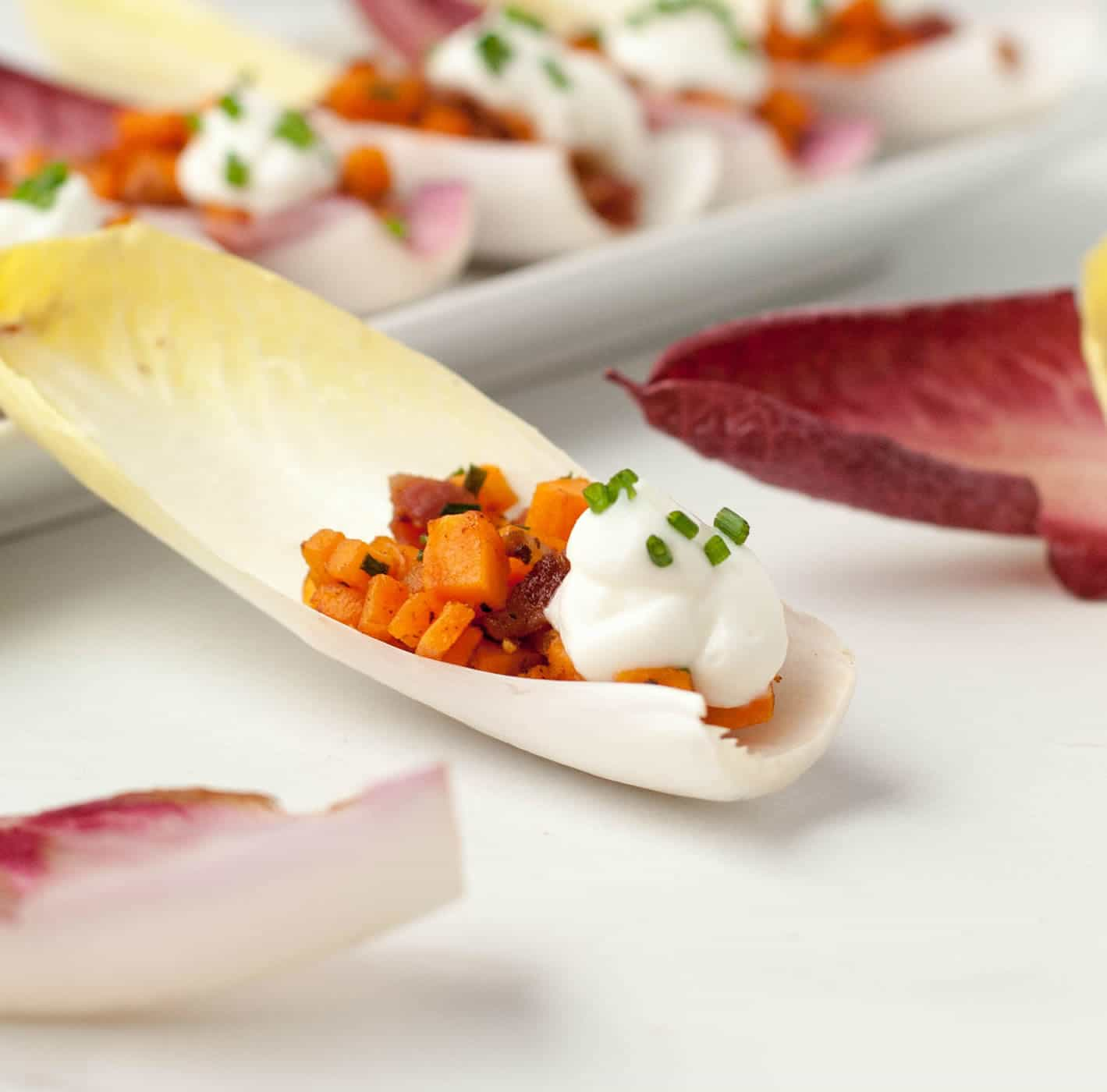 Endive Spears with Sweet Potato Bacon and Chives-11