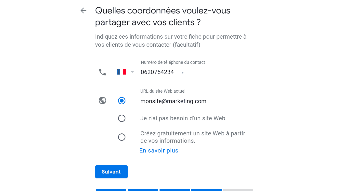 Google Business-Coordonnées