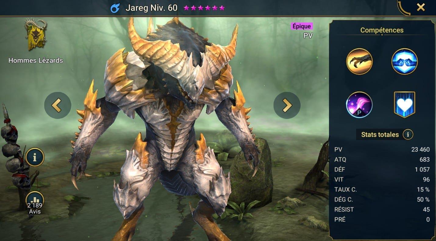 guide maitrises et artefact pour Jareg