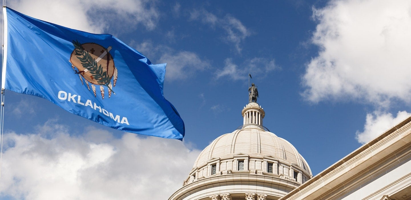 Oklahoma State Capitol Building and Flag