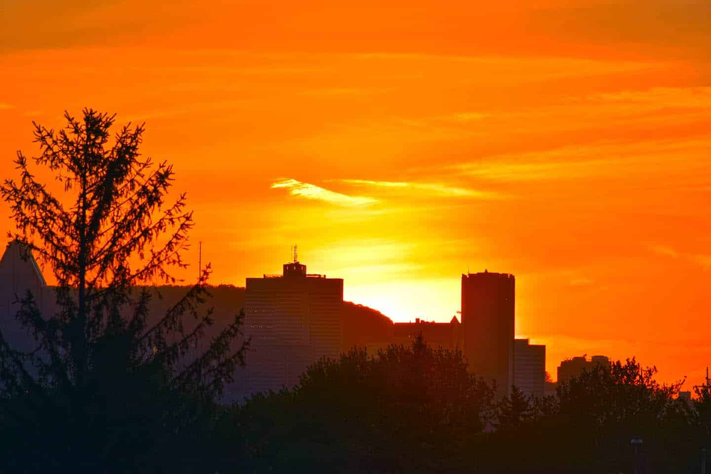 Beautiful Sunset Over Montreal Ville Marie