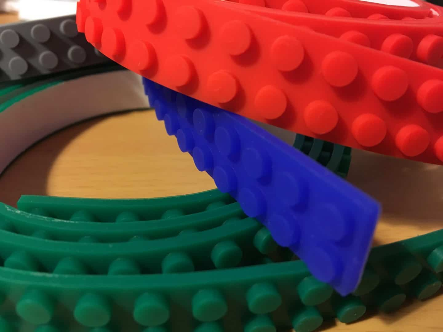 Lego Compatible sticky brick tape in red, blue, green and grey