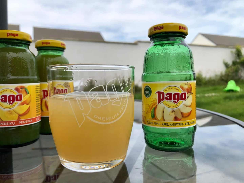 Pago Premium Fruit Juice - cloudy apple juice outside in the garden