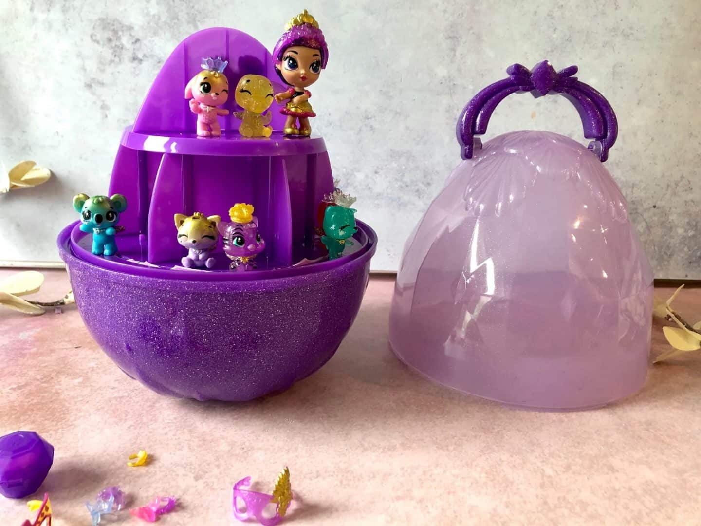 Hatchimals CollEGGtibles Crown Jewels in the egg carry case