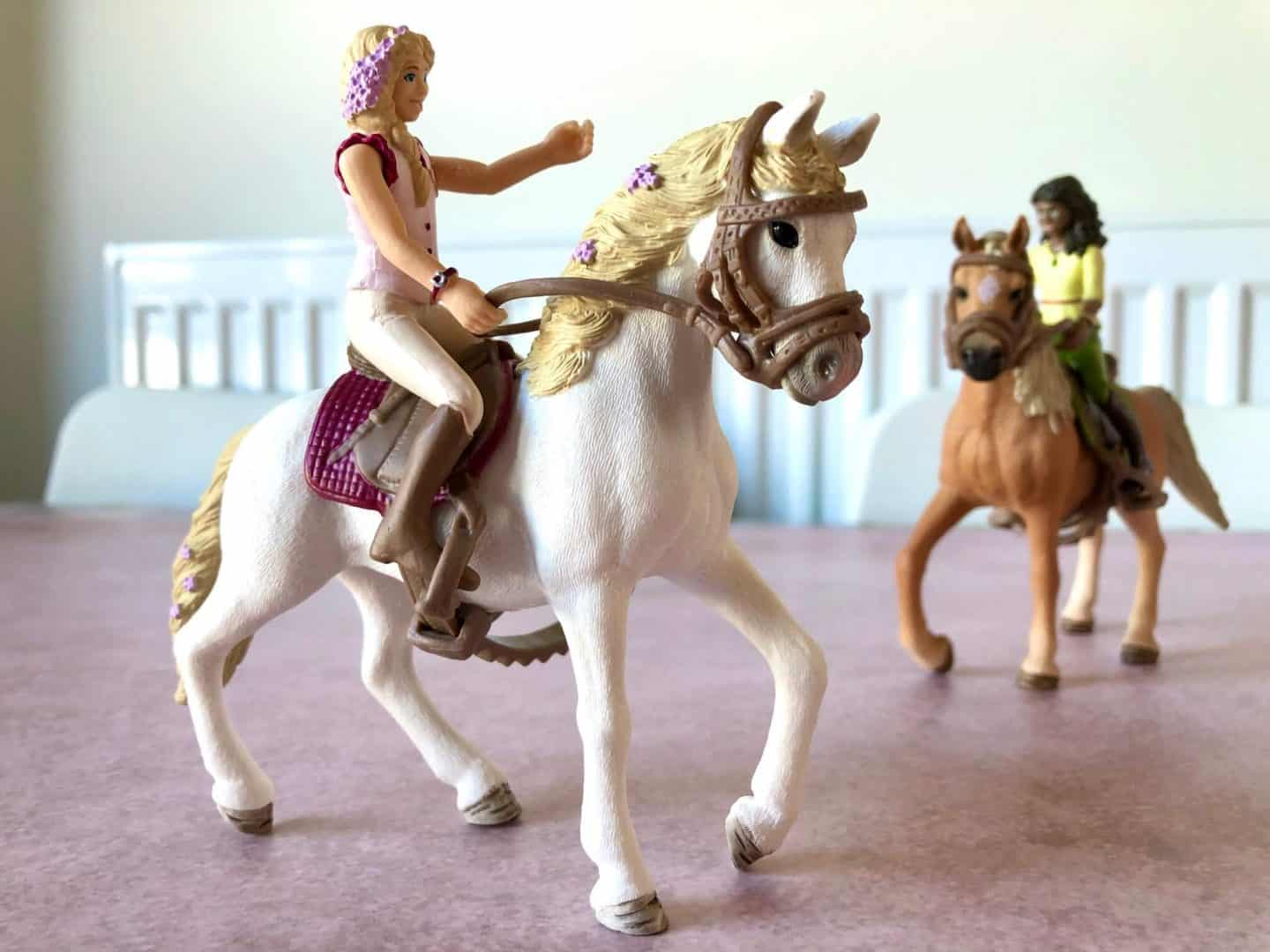 Schleich Horse Club rider Sofia. She didn't choose her Andalusian mare Blossom.